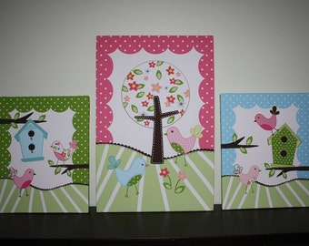 Set of 3 Extra Large Sweet Tweat Lil Biride Stretched Canvases Baby Nursery CANVAS Bedroom Wall Art 3CS035