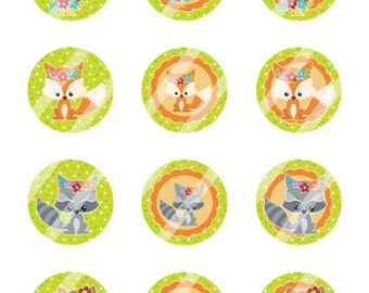 INSTANT DOWNLOAD/ Fall Animals / Green / Digital Cupcake Topper Image Sheet / 2 Inch Circles / 8.5x11 Collage Sheet / # CT220