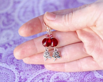 Silver Rose Earrings, Ruby Red Glass Crystal Earrings, Floral Jewelry, Silver Flower Dangle Earrings, Mother's Day Gifts, Gift For Mom Her