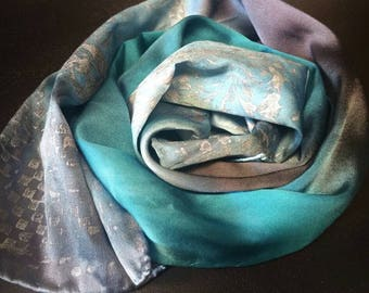 Silky lapel scarf,headband,one of a kind scarves,hatband,gifts for her,blue,gray,silk scarves,Coachella Festival