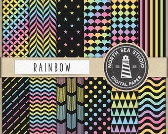PRISMATIC Digital Paper Rainbow Paper Rainbow Backgrounds Digital Scrapbooking 12 JPG 300 DPI Files Download Coupom Code BUY5FOR8