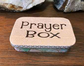 OMBRE pink green and rose+gold foil PRAYER BOX peace t faith t blessing box +bling