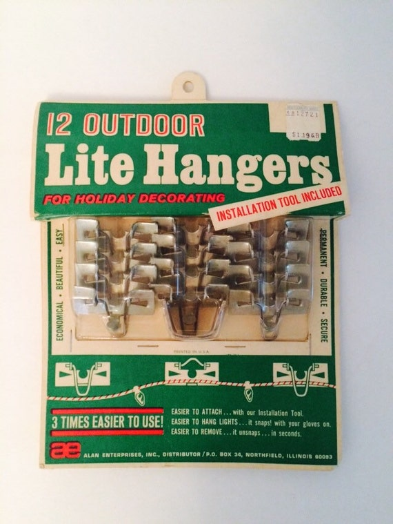 Items similar to vintage outdoor christmas light hanger hooks metal items similar to vintage outdoor christmas light hanger hooks metal nos nip on etsy aloadofball Choice Image
