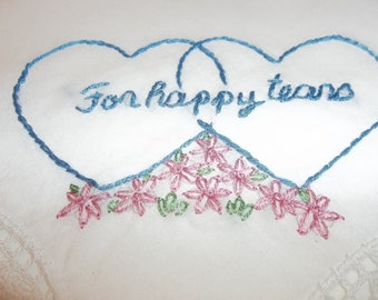 wedding handkerchief, double hearts, for happy tears, something blue, bridal gift, blue gift for bride, by hand, wedding gift, rustic ,