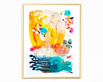 Original abstract art , Abstract Painting, yellow painting, Original Acrylic Painting, Colorful Wall art with gold leaf