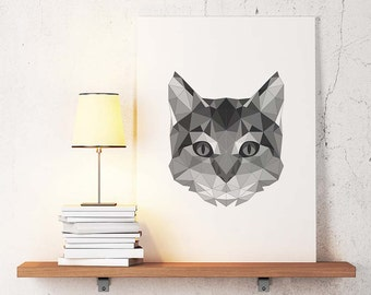 Minimal cat art etsy for Minimal art vzla
