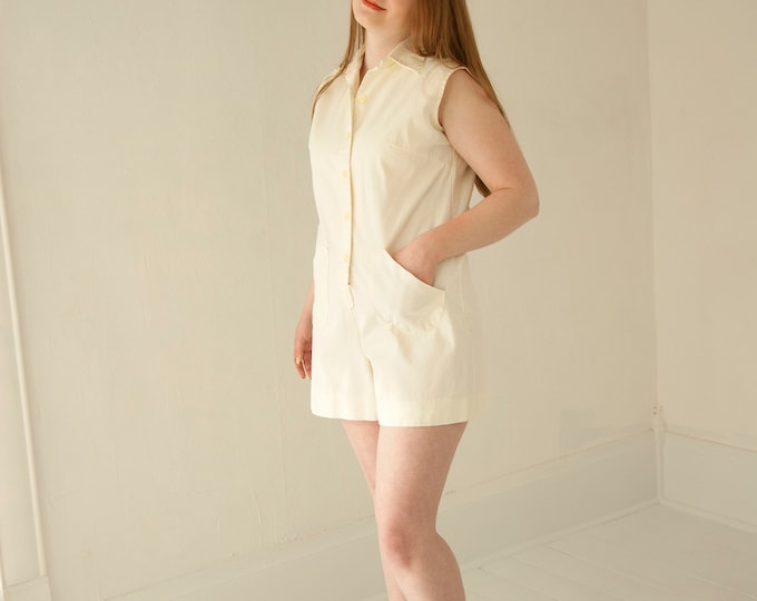 Vintage white cotton romper, pale yellow ivory sleeveless shorts top outfit playsuit summer pockets, retro 1970s M