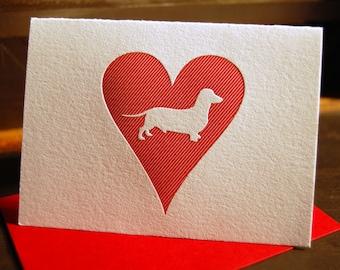 Heart: Dachshund, single letterpress card