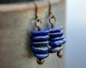 Lapis Lazuli Earrings, Gemstone Earrings, Blue Lapis Earrings, Lapis Lazuli Beads on Handmade Headpins, Blue Lapis Lazuli, Lapis Lazuli 2700