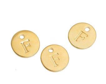 Letter F - 12mm Golden gold pendant