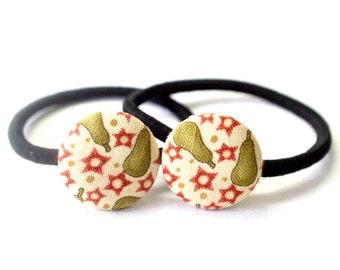 Christmas Pears Ponytail Holder ~ Fabric Button ~ Covered Button ~ Hairband ~ Elastic Band (Set of 2) - 22mm (0.87 inch)