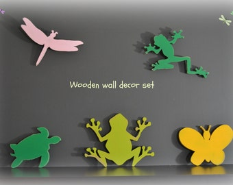 wooden wall decor, set of 5 wall decor, frogs wall decor, turtle wall decor, kids room decor, butterfly wall decor, dragonfly wall decor