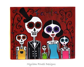 Day of the dead - Dia de los Muertos - Acrylic Painting - Skeleton Family