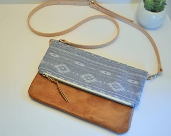 Tribal on Blue Chabary and Cognac Brown Leather Crossbody Foldover Clutch, Fold Over Leather Purse Clutch, Foldover Clutch, Brown Leather