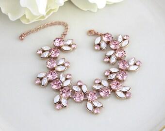 Rose gold bracelet, Bridal bracelet, Bridal jewelry, Blush crystal bracelet, Swarovski bracelet, Cuff bracelet, Statement Wedding bracelet