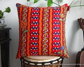Red Orange Pillow Batik - Colorful Ethnic Throw Cushion Covers with Leaves and Flowers Motif