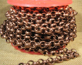 11mm Rolo Chain - Per Foot - CH115 - Antique Copper