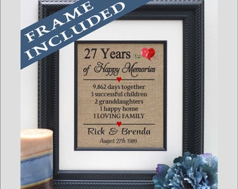 27th wedding anniversary gifts for parents