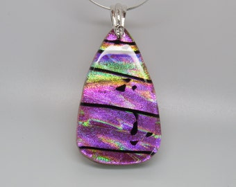 Fused glass art dichroic pink pendant
