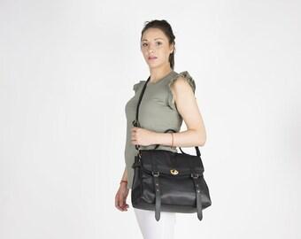 Black leather messenger bag - Leather laptop messenger bag - Women's laptop bag - Satchel purse - Leather Briefcase - MELINA bag