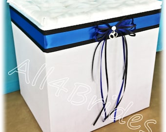 Wedding Card Box,Thin blue line police wedding card holder box, handcuff charm, royal blue and black.