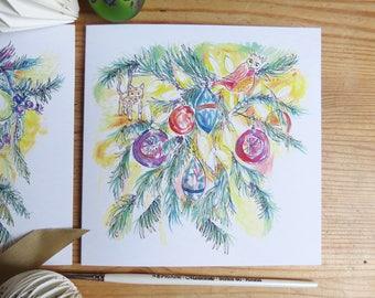 The Christmas Tree - elephant and bird - illustrated, hand-drawn Christmas card
