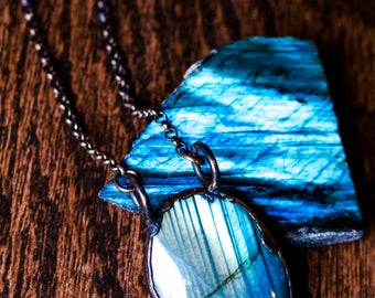 Looking Glass Double Sided Labradorite Necklace