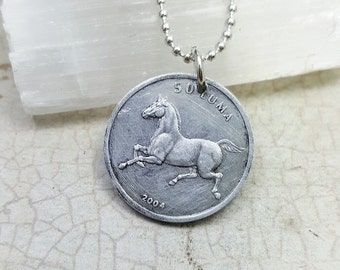 Horse necklace - horse coin pendant - year of the horse - trotting horse necklace - pony necklace - coin jewelry - stallion necklace