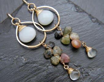 Tourmaline, Amazonite, Green Amethyst, Chandelier Earrings, Gold Filled Earrings, Flower Earrings, Vine Earrings, Gemstone Earrings, Wedding