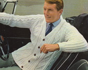 Mens Cardigan PDF Knitting Pattern : Mans 40, 42 and 44 inch chest . DK . Instant Download