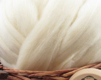 White Southdown Wool Top Roving - Undyed Natural Spinning & Felting Fiber / 1oz
