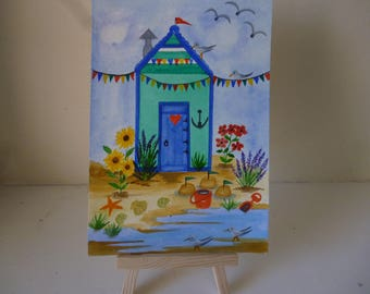 Original water colour painting of beach hut.