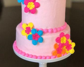 "Luau fondant flowers Hibiscus edible flowers 12pcs 2""  hawaiian luau wedding cake topper bright color cupcake toppers tropical hot pink"