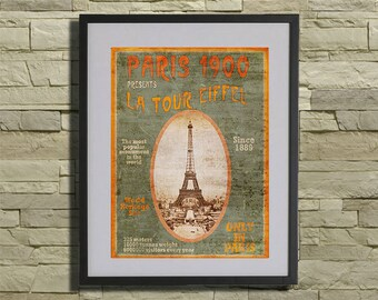 Paris 1900 Exposition Universelle - Paris Belle Epoque Fine Art Travel Poster Print Eiffel Tower Illustration