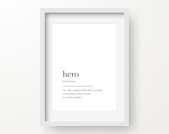 Hero Print, Hero Definition, Home Decor Printable, Minimalist Art, Instant Download, Digital Print