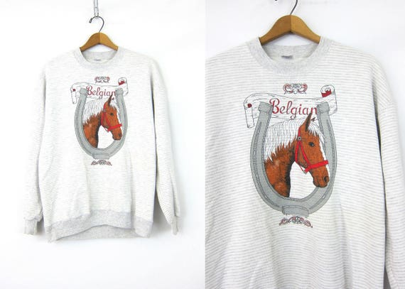 Gray HORSE Sweatshirt Sporty Oversized Horseshoe Sweater Pin Striped Gray and White Athletics Jumper Animal Shirt Women's Size XL