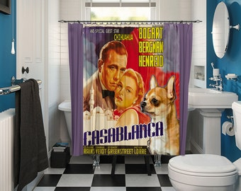 Chihuahua Art Shower Curtain, Dog Shower Curtains, Bathroom Decor - CASABLANCA Movie Poster