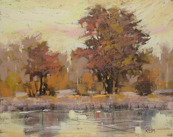 YELLOW Golden Trees Landscape Original Pastel Painting Karen Margulis 8x10