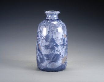 Ceramic Vase - Blue, Tan - Crystalline Glaze on High-Fired Porcelain - Hand-Made Pottery - FREE SHIPPING - #J-244