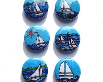 Sailboat magnets or Sailboat pinback buttons - sailing pins, 1 inch nautical magnets, boat magnets, sailor, fridge magnet set, pin set