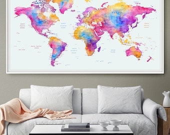 World map wall art Travel Map, Push Pin World Map Poster, Personalized Map, Travel Decor, Nursery Wall Art Map of the World, Kid's Map (L90)