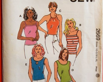 Kwik Sew 2669 Uncut camisole pattern in sizes extra small, small, medium, large and extra large Tank top pattern Halter top pattern