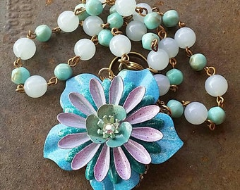 Mixed Purples and Blues  in a Hand Painted Flower with a rosary style chain by wendy baker