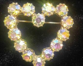 Large Aurora Borealis Rhinestone Heart Pin Brooch