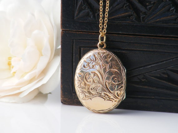 Antique Locket | Victorian Gold Locket | Hand Chased Oval Photo Locket Necklace | Love Token or Keepsake Locket  - 24 Inch Chain Included