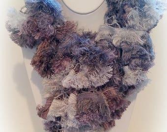 Handmade Ruffle Scarf Sashay Fabric Shaggy Purple Mauve