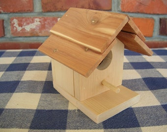 Birdhouse - Unpainted, Cedar, Decorative - Indoor, Outdoor, Garden, Porch, Patio, Shelf Decoration