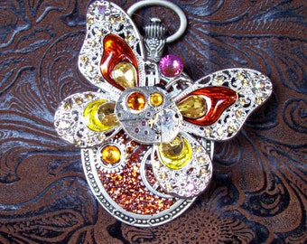 Steampunk Pin (P805) Butterfly Brooch, Hand Painted Acrylic, Gears and Swarovski Crystals, Amber, Yellow, Gold, Aurora Borealis