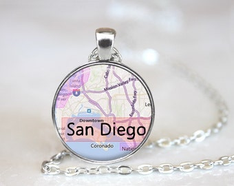 City Maps San Diego Glass Pendant/Necklace/Keychain