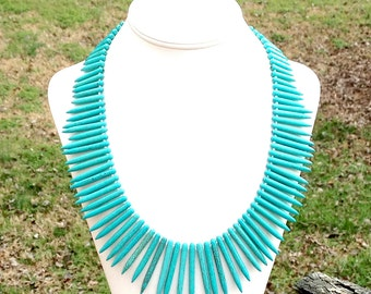 Spike Necklace Turquoise Spike Necklace Ethnic Turquoise Necklace Turquoise Tribal Necklace Tropical Necklace Chunky Turquoise Necklace Blue
